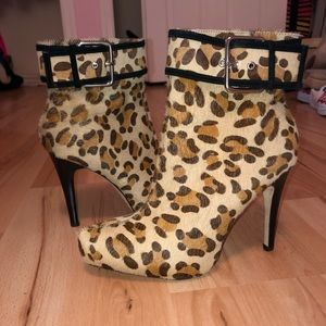 Andre Assous Fur Cheetah Print Booties